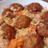 Chilli Noodle Bowl Meatballs With Red Peppers and Onions
