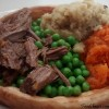 Giant Yorkshire Pudding Fillings: Beef Brisket, Peppered Mash, Mashed Carrots, Peas and Beef Gravy