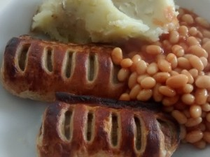 Hot Sausage Rolls Mashed Potatoes Baked Beans