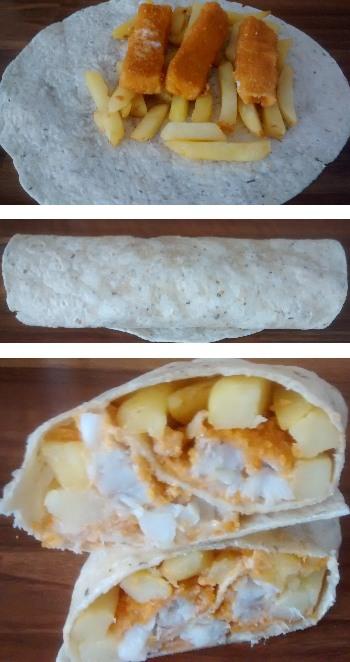 Fish Finger Chip Tortilla Wrap