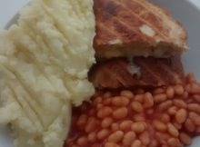 Cheese Onion Pasty Mashed Potatoes Baked Beans