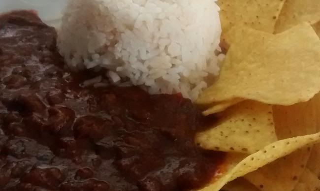 Chilli Con Carne Serve With White Rice Tortilla Chips