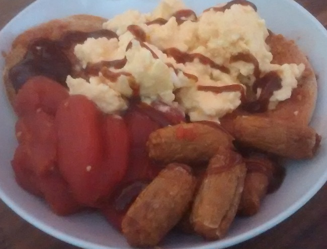 Quick Microwave Breakfast Toasted Muffin Scrambled Eggs Sausages Tomatoes