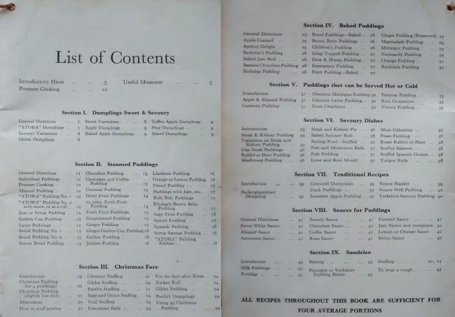 Vintage Atora Suet Recipe Book List Of Contents