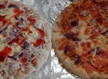 Carlos Stonebaked Margherita Pizza Red Onion Cheddar Cheese Sweet Chilli Before After