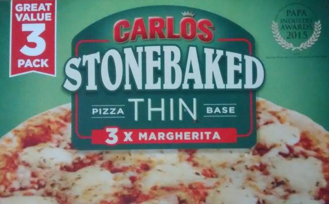 Carlos Stonebaked Marguerita Pizza 3 Pack Aldi