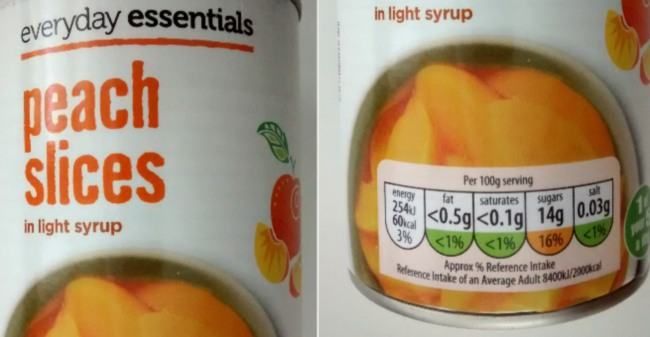 Aldi Everyday Essentials Peach Slices Light Syrup 10Day