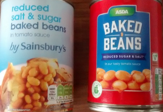 Comparison Reduced Salt Reduced Sugar Baked Beans Sainsburys Asda