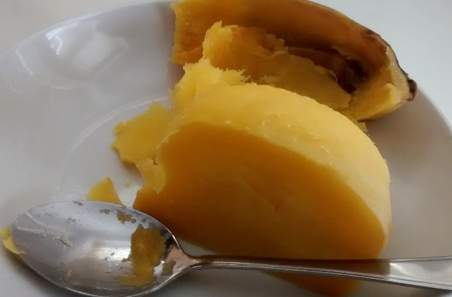Microwave Cooked Swede Skin Removed With Spoon