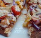 Simple Peppers Cherry Tomato Red Onion Naan Pizza