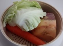Microwave Steamed Vegetables Cabbage Carrots Swede