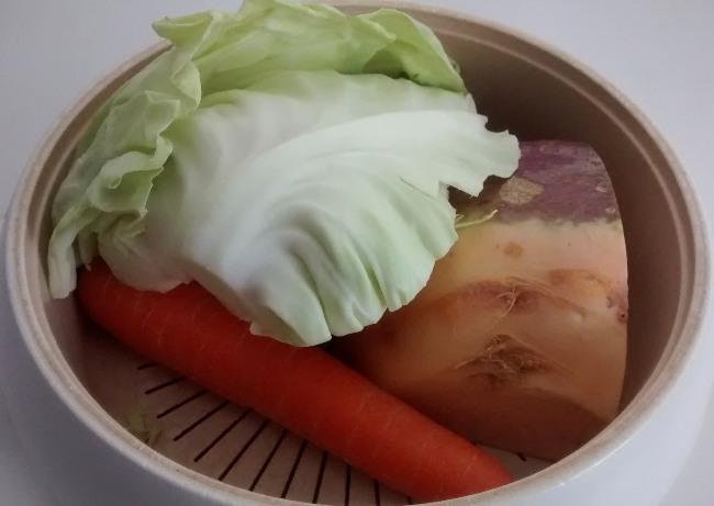 Microwave Steamed Vegetables Cabbage Carrots Swede