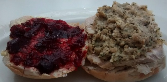 Leftover Turkey Stuffing Cranberry Sauce Sandwich Bread Roll